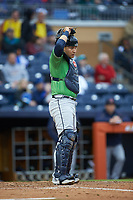 Gwinnett Braves catcher Alex Jackson (25) on defense against the Durham Bulls at Durham Bulls Athletic Park on April 20, 2019 in Durham, North Carolina. The Bulls defeated the Braves 11-3 in game one of a double-header. (Brian Westerholt/Four Seam Images)