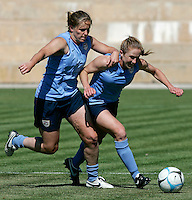 Cat Whitehill fights for the ball with Rachel Buehler during the USA women's national team practice session at Montechoro Hotel soccer fields during Algarve Women´s Soccer Cup 2008 in Albufeira, Portugal on March 08, 2008. Paulo Cordeiro/isiphotos.com