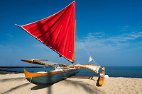 Outrigger sailboat on Keokea Beach. Hawaii, The Big Island