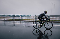 Esteban Chavez (COL/Michelton-Scott) on his way to the race start on the Promenade des Anglais in torrential rained down Nice (and next to the Mediterranean Sea)<br /> <br /> 76th Paris-Nice 2018<br /> Stage 8: Nice > Nice (110km)