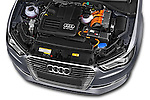 Car Stock 2015 Audi A3 Ambiente 5 Door Hatchback 2WD Engine high angle detail view