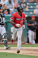 Jorge Mateo (14) of the Nashville Sounds runs to first base against the Salt Lake Bees at Smith's Ballpark on July 27, 2018 in Salt Lake City, Utah. The Bees defeated the Sounds 8-6. (Stephen Smith/Four Seam Images)