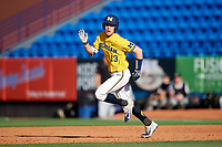 Michigan Wolverines designated hitter Dominic Clementi (13) runs the bases after hitting a double during a game against Army West Point on February 17, 2018 at Tradition Field in St. Lucie, Florida.  Army defeated Michigan 4-3.  (Mike Janes/Four Seam Images)