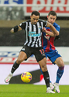 2nd February 2021; St James Park, Newcastle, Tyne and Wear, England; English Premier League Football, Newcastle United versus Crystal Palace; Callum Wilson of Newcastle United shields the ball from Gary Cahill of Crystal Palace