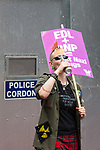 © Joel Goodman - 07973 332324 - all rights reserved . 05/06/2010 . Cardiff , UK . An anti fascist demonstrator . The Welsh Defence League (an offshoot of the English Defence League ) hold a march and rally in Cardiff , opposed by anti-fascist groups including Unite Against Fascism . Photo credit : Joel Goodman