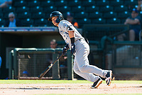 Peoria Javelinas second baseman Keston Hiura (23), of the Milwaukee Brewers organization, starts down the first base line during an Arizona Fall League game against the Surprise Saguaros at Surprise Stadium on October 17, 2018 in Surprise, Arizona. (Zachary Lucy/Four Seam Images)