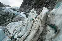 Looking up accross crevasses and towards main icefall on Franz Josef Glacier, Westland NP, West Coast, New Zealand