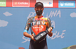 Damiano Caruso (ITA) Bahrain Victorious wins Stage 9 of La Vuelta d'Espana 2021, running 188km from Puerto Lumbreras to Alto de Velefique, Spain. 22nd August 2021.     <br /> Picture: Luis Angel Gomez/Photogomezsport   Cyclefile<br /> <br /> All photos usage must carry mandatory copyright credit (© Cyclefile   Luis Angel Gomez/Photogomezsport)