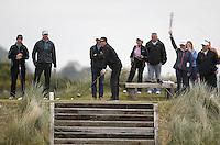 27 May 2015; Shane Warne tees off at the 8th<br /> <br /> Dubai Duty Free Irish Open Golf Championship 2015, Pro-Am. Royal County Down Golf Club, Co. Down. Picture credit: John Dickson / DICKSONDIGITAL