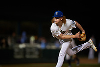 Rancho Cucamonga Quakes starting pitcher Dustin May (36) follows through on his delivery during a California League game against the Lake Elsinore Storm at LoanMart Field on May 19, 2018 in Rancho Cucamonga, California. Lake Elsinore defeated Rancho Cucamonga 10-7. (Zachary Lucy/Four Seam Images)