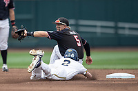 Texas Tech Red Raiders second baseman Brian Klein (5) makes a catch at second during Game 1 of the NCAA College World Series against the Michigan Wolverines on June 15, 2019 at TD Ameritrade Park in Omaha, Nebraska. Michigan defeated Texas Tech 5-3. (Andrew Woolley/Four Seam Images)