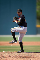 Pittsburgh Pirates Montana DuRapau (44) during a minor league Spring Training intrasquad game on April 3, 2016 at Pirate City in Bradenton, Florida.  (Mike Janes/Four Seam Images)