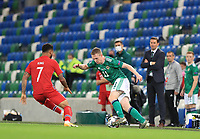 7th September 2020; Windsor Park, Belfast, County Antrim, Northern Ireland; EUFA Nations League, Group B, Northern Ireland versus Norway; Shane Ferguson of Northern Ireland takes the ball forward against Norway's Joshua King
