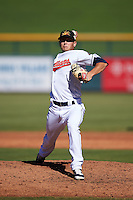 Mesa Solar Sox pitcher Cameron Hill (48), of the Cleveland Indians organization, during a game against the Surprise Saguaros on October 14, 2016 at Sloan Park in Mesa, Arizona.  Mesa defeated Surprise 10-4.  (Mike Janes/Four Seam Images)