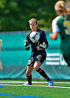 26 August 2012: Fairfield University Stag goalkeeper Veronica Saez in action against the University of Vermont Catamounts at Virtue Field in Burlington, Vermont. The Stags defeated the Lady Cats 1-0. Mandatory Credit: Ed Wolfstein Photo
