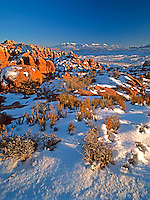 The Fiery Furnace of Arches National Park in Utah glows with a different intensity in Winter<br />