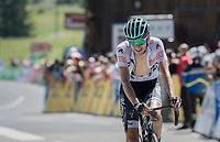 white jersey winner Emanuel Buchmann (DEU/BORA-hansgrohe) crossing the finsh line 3rd<br /> <br /> 69th Critérium du Dauphiné 2017<br /> Stage 8: Albertville > Plateau de Solaison (115km)