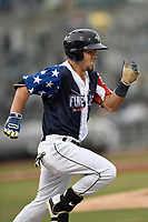 Right fielder Arnaldo Berrios (3) of the Columbia Fireflies runs out a batted ball in a game against the Rome Braves on Monday, July 3, 2017, at Spirit Communications Park in Columbia, South Carolina. Columbia won, 3-2. (Tom Priddy/Four Seam Images)