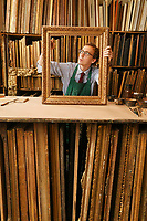 BNPS.co.uk (01202 558833)<br /> Pic: ZacharyCulpin/BNPS<br /> <br /> Borys Burrough pictured in the St James's Street workshop<br /> <br /> Antique frames are being carefully restored using centuries-old techniques at a small central London business.<br /> <br /> Rollo Whately Ltd, off St James's Street, was started by Rollo 22 years ago and have a range of fine art auction and museum clients.<br /> <br /> He is assisted by wood carver Borys Burrough in restoring frames, typically dating from the 17th to the 19th century.