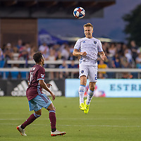 SAN JOSÉ CA - JULY 27: Jonathan Lewis #11 and Tommy Thompson #22 during a Major League Soccer (MLS) match between the San Jose Earthquakes and the Colorado Rapids on July 27, 2019 at Avaya Stadium in San José, California.