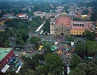 aerial photograph of Plaza Hidalgo, the central square of Villa Coyacan,which is the historic center of the alcadia (municipality) Coyacan of Mexico City, Mexico | fotografía aérea de la Plaza Hidalgo, la plaza central de Villa Coyacan, que es el centro histórico de la alcadia Coyacan de la Ciudad de México, México