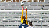 GUADALAJARA, MEXICO - MARCH 18: David Ochoa #20 of the United States reaches high for ball during a game between Costa Rica and USMNT U-23 at Estadio Jalisco on March 18, 2021 in Guadalajara, Mexico.