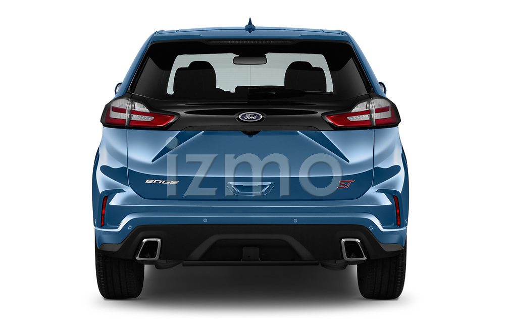 Straight rear view of a 2019 Ford Edge ST 5 Door SUV stock images
