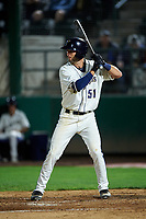Tri-City Dust Devils Jack Stronach (51) at bat during a Northwest League game against the Vancouver Canadians at Gesa Stadium on August 21, 2019 in Pasco, Washington. Vancouver defeated Tri-City 1-0. (Zachary Lucy/Four Seam Images)