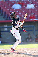 Lewis Brinson (25) of the High Desert Mavericks bats during a game against the San Jose Giants at Mavericks Stadium on June 14, 2015 in Adelanto, California. High Desert defeated San Jose, 7-5. (Larry Goren/Four Seam Images)