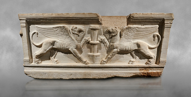 Roman relief sculpted sarcophagus of Achilles from Attica. This side shows two griffin and  bears characteristics of the Late Antonines Period of the Roman Imperial Period between 170-190 AD. Adana Archaeology Museum, Turkey.