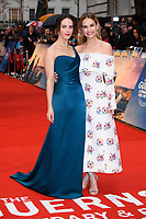 "Jessica Brown Findlay and Lily James<br /> arriving for the world premiere of ""The Guernsey Literary and Potato Peel Pie Society"" at the Curzon Mayfair, London<br /> <br /> ©Ash Knotek  D3394  09/04/2018"