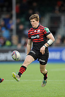 David Strettle of Saracens chips ahead to score a try only moments later during the Heineken Cup Round 6 match between Saracens and Connacht Rugby at Allianz Park on Saturday 18th January 2014 (Photo by Rob Munro)