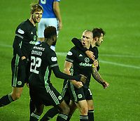 2nd February 2021; Rugby Park, Kilmarnock, East Ayrshire, Scotland; Scottish Premiership Football, Kilmarnock versus Celtic; Scott Brown of Celtic celebrates after he makes it 1-0 to Celtic in the 29th minute