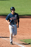 04 June 2010: Boris Marche of Rouen runs the base on Maxime Lefevre home run during the 2010 Baseball European Cup match won 19-9 by Konica Minolta Pioniers over the Rouen Huskies, at the Kravi Hora ballpark, in Brno, Czech Republic.