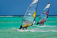 Windsurfers, Bonaire, Netherland Antilles, Caribbean Sea, Atlantic Ocean