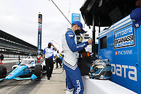 28th May 2021; Indianapolis, Indiana, USA;  NTT Indy Car Series car driver Alex Palou puts on his helmet during Miller Lite Carb Day as teams prepare for the 105th running of the Indianapolis 500