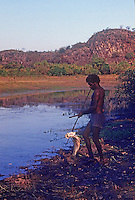 Tribal Aboriginal hunting for Barramundi Arnhem Land Northern Territory, Australia