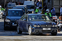 Pictured: The cavalcade escorting Alexis Tsipras arrives at the Guildhall, City of London, in London, UK. Tuesday 26 June 2018<br /> Re: Greek Prime Minister Alexis Tsipras is on a three day visit to London, UK.