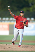 Salem Red Sox starting pitcher Daniel Gonzalez (47) delivers a pitch to the plate against the Fayetteville Woodpeckers at Segra Stadium on May 15, 2019 in Fayetteville, North Carolina. The Woodpeckers defeated the Red Sox 6-2. (Brian Westerholt/Four Seam Images)