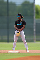 Miami Marlins second baseman Osiris Johnson (5) during a Minor League Spring Training camp day on April 27, 2021 at Roger Dean Chevrolet Stadium Complex in Jupiter, Fla.  (Mike Janes/Four Seam Images)