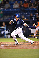 Asheville Tourists third baseman Colton Welker (24) swings at a pitch during a game against the Greensboro Grasshoppers at McCormick Field on April 27, 2017 in Asheville, North Carolina. The Tourists defeated the Grasshoppers 8-5. (Tony Farlow/Four Seam Images)