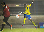 Cowdenbeath v St Johnstone ..17.12.12      Scottish Cup.Thomas Flynn saves Gregory Tade's shot at goal.Picture by Graeme Hart..Copyright Perthshire Picture Agency.Tel: 01738 623350  Mobile: 07990 594431