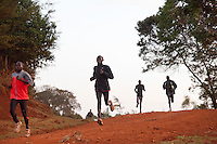 Athletes training with Kenyan elite marathoner Wilson Kipsang run through the outskirts of Iten, Kenya during a morning run in April, 2012. Athletes from around the world have flocked to Kenya in advance of the Olympics to be at the heart of the revolution in running that has seen world records and course records fall by minutes in recent years.