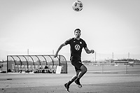BRADENTON, FL - JANUARY 21: Miles Robinson heads the ball during a training session at IMG Academy on January 21, 2021 in Bradenton, Florida.