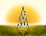 Illustrative image of business people's pyramid representing teamwork