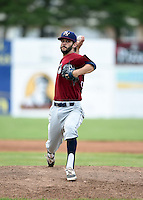 Mahoning Valley Scrappers pitcher Kieran Lovegrove (38) delivers a pitch during a game against the Batavia Muckdogs on June 22, 2015 at Dwyer Stadium in Batavia, New York.  Mahoning Valley defeated Batavia 15-11.  (Mike Janes/Four Seam Images)
