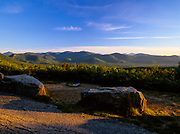 Mountain scene from a scenic pulloff along Bear Notch Road in the White Mountains, New Hampshire USA. Parts of Bear Notch Road follow the old Bartlett and Albany Railroad which was a logging railroad in operation from 1887 - 1894.