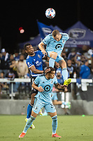 SAN JOSE, CA - AUGUST 17: Jan Gregus #8 and Hassani Dotson #31 of Minnesota United battle Jeremy Ebobisse #11 of the San Jose Earthquakes in the air during a game between San Jose Earthquakes and Minnesota United FC at PayPal Park on August 17, 2021 in San Jose, California.