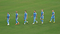WASHINGTON, DC - SEPTEMBER 06: New York City FC players enter the field during a game between New York City FC and D.C. United at Audi Field on September 06, 2020 in Washington, DC.