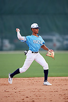 Jeremiah Jackson (5) while playing for East Coast Sox Select based out of Columbus, Mississippi during the WWBA World Championship at the Roger Dean Complex on October 19, 2017 in Jupiter, Florida.  Jeremiah Jackson is a shortstop from Mobile, Alabama who attends St. Lukes High School.  (Mike Janes/Four Seam Images)